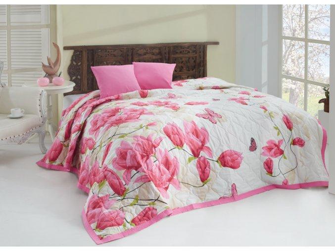 Přehoz Alize Pink - 220x240 + 2x 40x40 cm