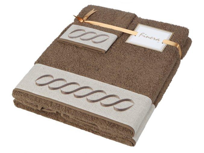 Sada ručníků s výšivkou Infinito Brown