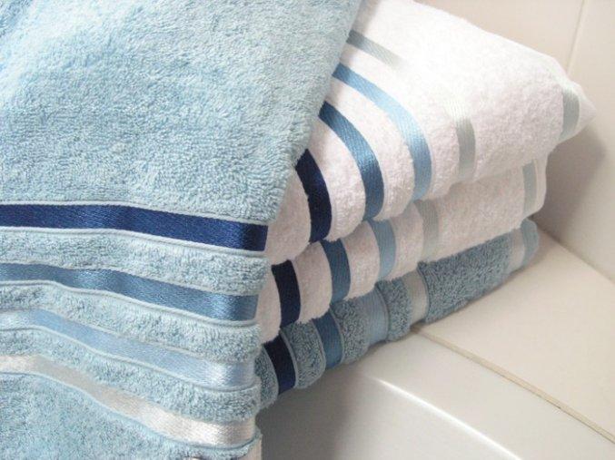 Froté ručník Lumina - Bílý s modrými proužky