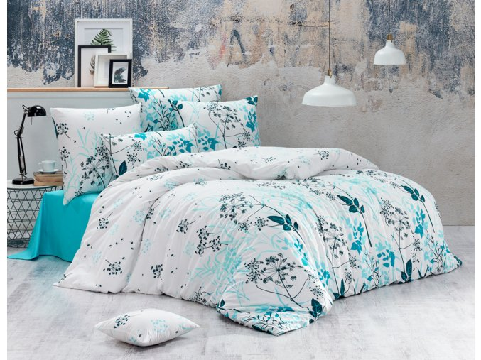 Bavlnene povleceni Blommor Tyrkysové BedTex