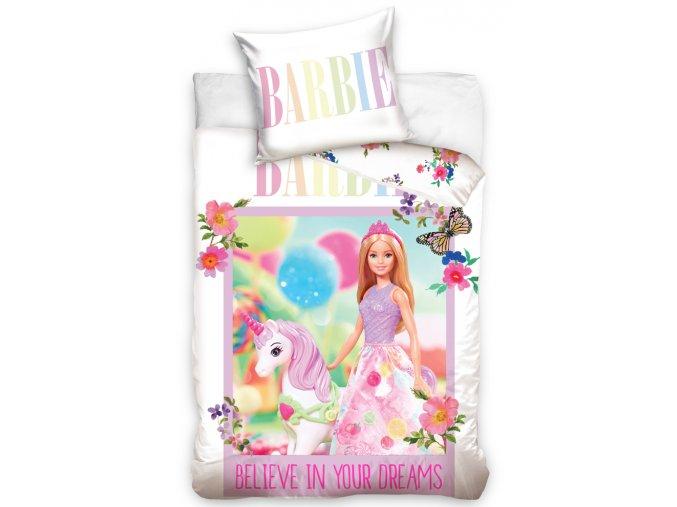 Povleceni do postylky Barbie a Jednorozec 100x135 a 40x60 cm