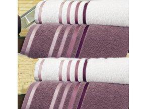 Froté ručník Lumina - Bílý s vínovými proužky