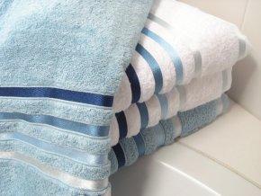 Sada ručníků a osušky Lumina Bílé s modrými proužky
