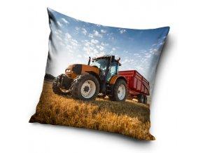 Povlak na polstarek Traktor s cervenou vleckou 40x40cm