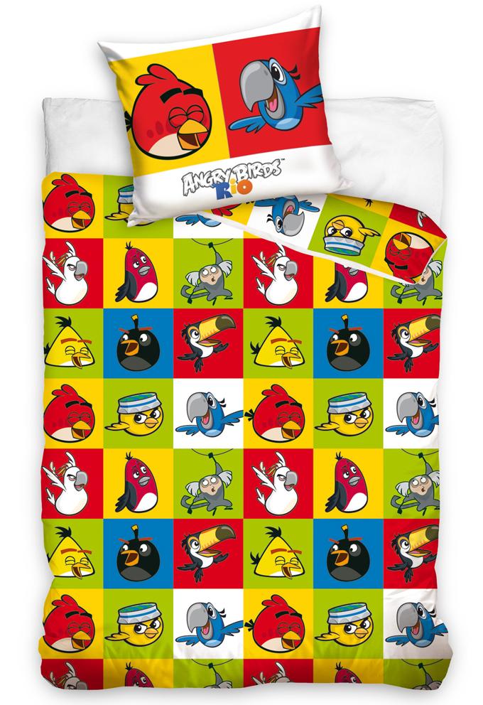 Carbotex Dětské povlečení Angry Birds Šachovnice