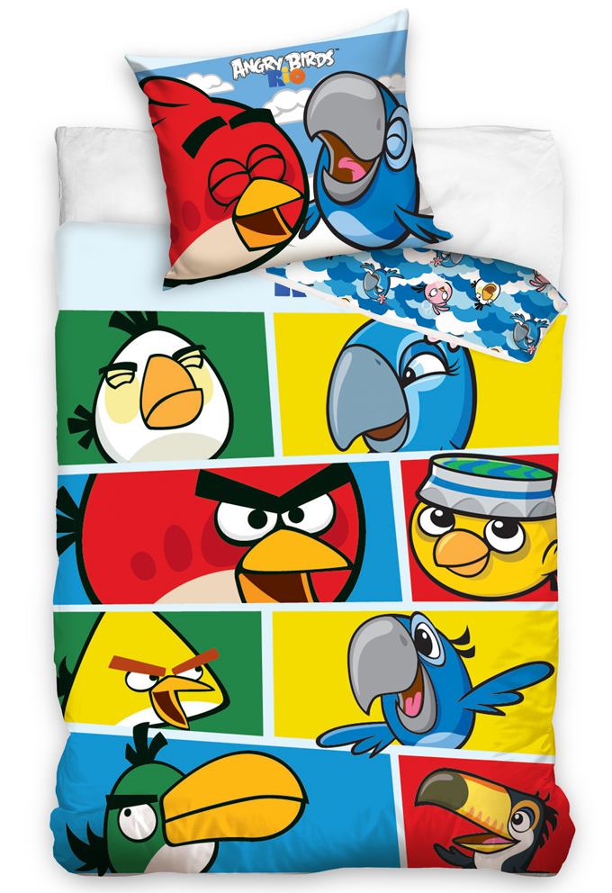Carbotex Dětské povlečení Angry Birds Check Blue
