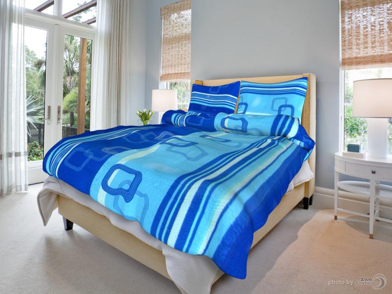 TipTrade s.r.o. Krepové povlečení Tamara - Modré Velikost: 140x200 + 70x90 cm