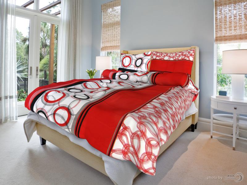 TipTrade s.r.o. Bavlněné povlečení Marta - Červené Velikost: 140x200 + 70x90 cm