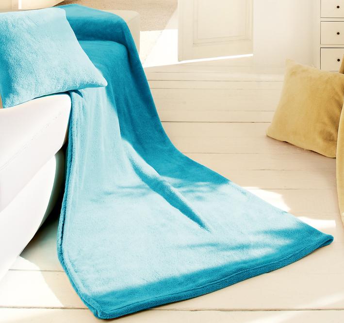 Biederlack Set deka a polštář King Fleece - Tyrkysová