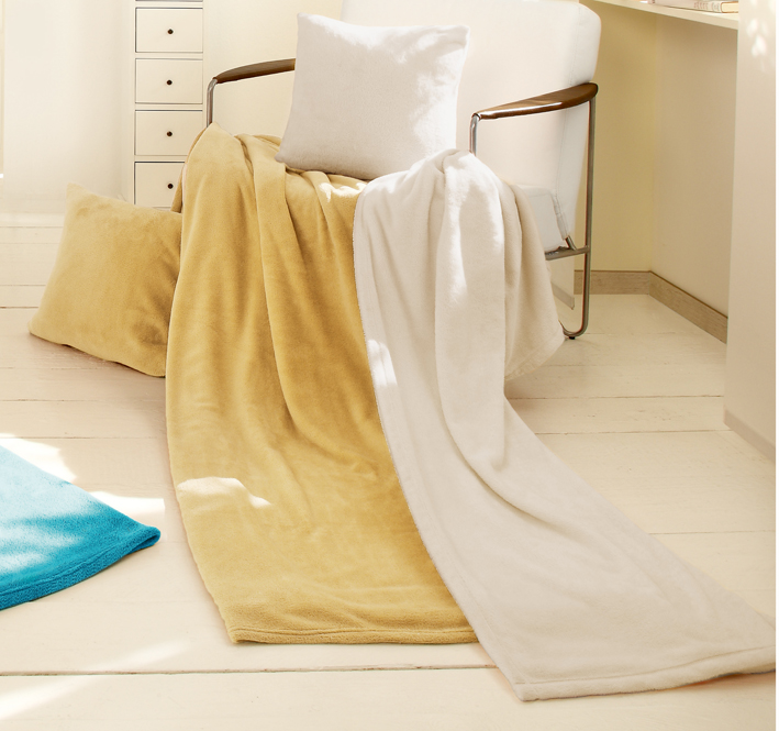 Biederlack Set deka a polštář King Fleece - Béžová