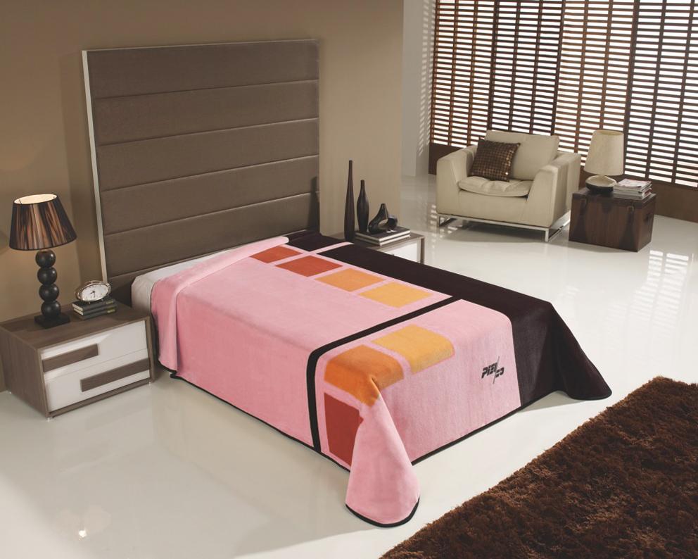 Španělská deka Piel - Cuadrados Růžová