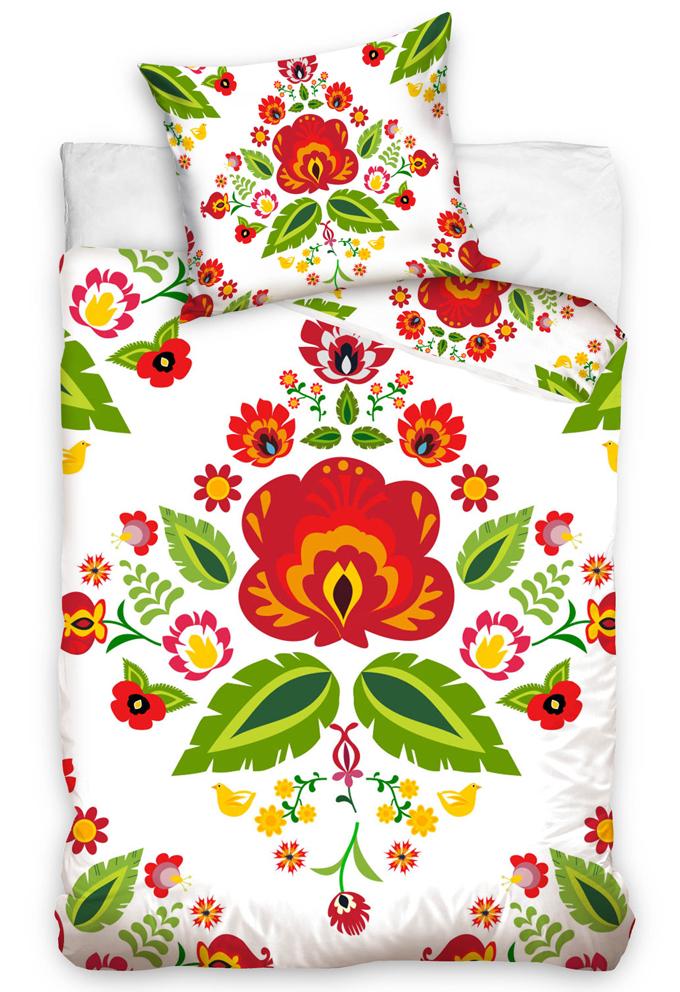 Bavlněné povlečení Folklor Lidové Květy Bílé Velikost: 140x200 + 70x90 cm