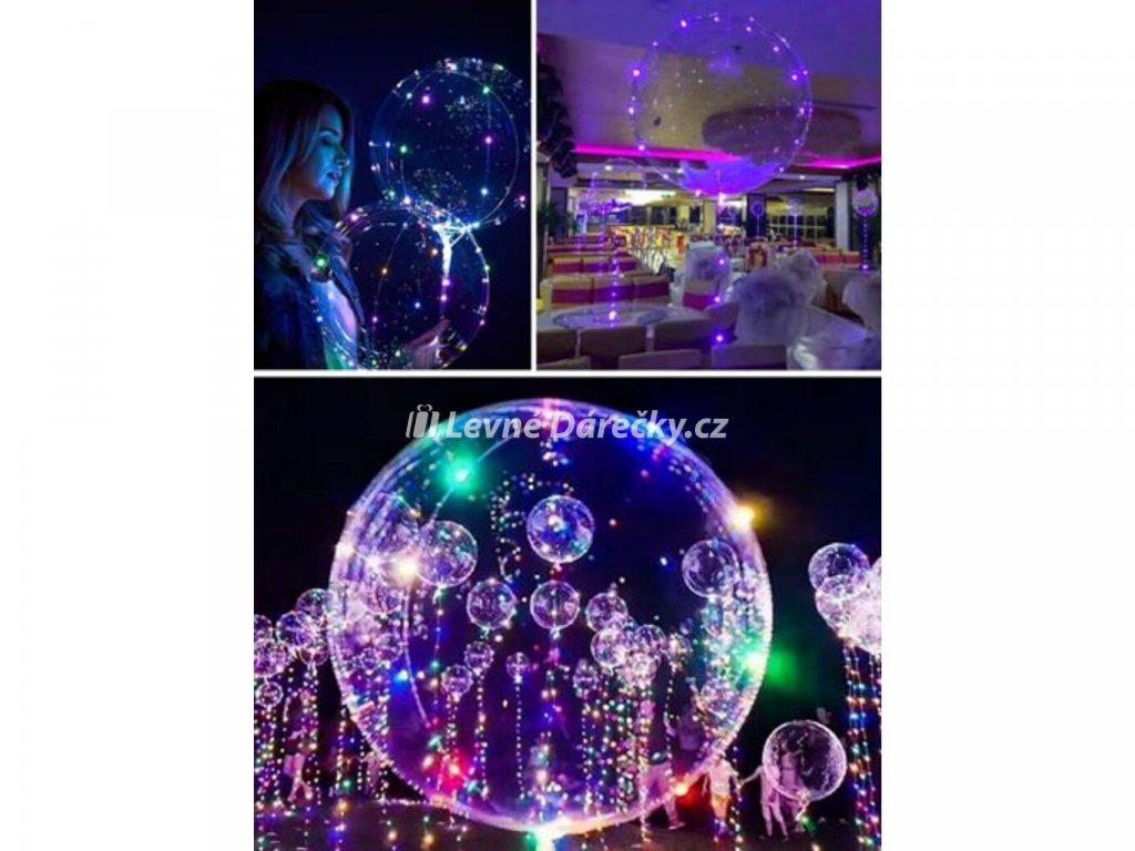 LED svítící balónek obvod 35 cm čirý 8