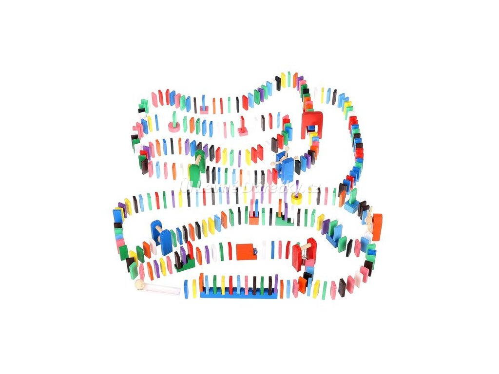 Kruzzel 9397 Dřevěné domino barevné 1080 ks 01