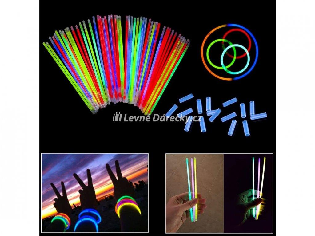 svitici naramky lightstick 100 ks barevne 2