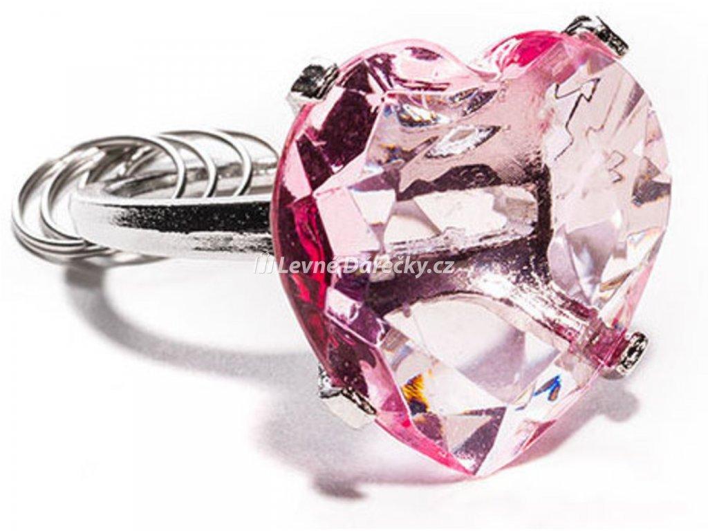 privesek diamant srdce ruzovy 3