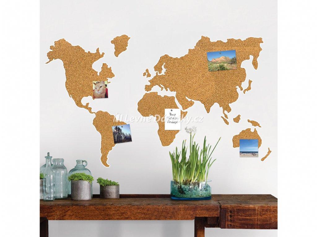 korková nástěnka mapa světa1