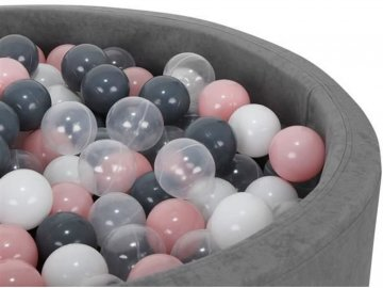 Plastové míčky do bazénu šedo růžové 7cm 200ks