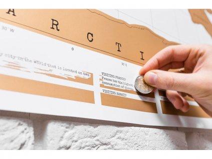 Stírací mapa světa deluxe bílá 2