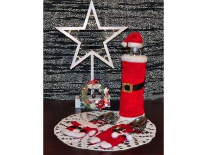 Vánoční dekorace na láhve obal na láhev Santa Claus