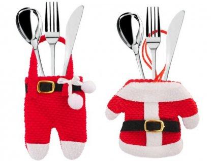 Vánoční dekorace na stůl obal na příbory Santa Claus 2