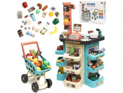 detsky supermarket s vozikem a prislusenstvim 1