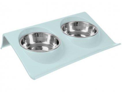 miska pro psy a kocky dvojita nerezova 2x350ml 1
