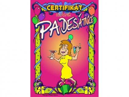 Certifikát krásné padesátnice