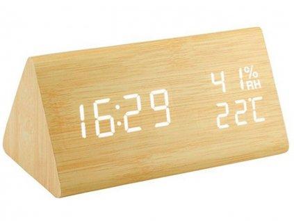 Dřevěný digitální LED budík - Hranol
