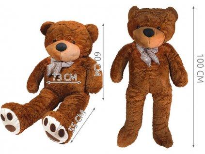 Plyšový medvěd 100 cm tmavě hnědý 5