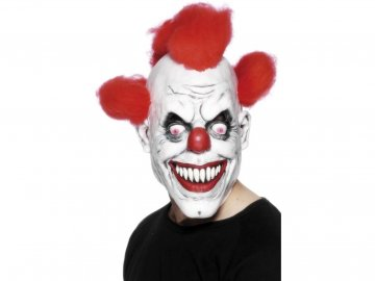 Maska Klaun - bíla s červenými vlasy