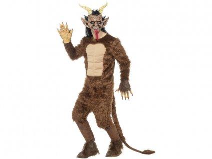 Maska s vlasy Čert Krampus s rohy a jazykem