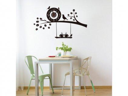 Nalepovací nástěnné hodiny na zeď ptáčci a káva