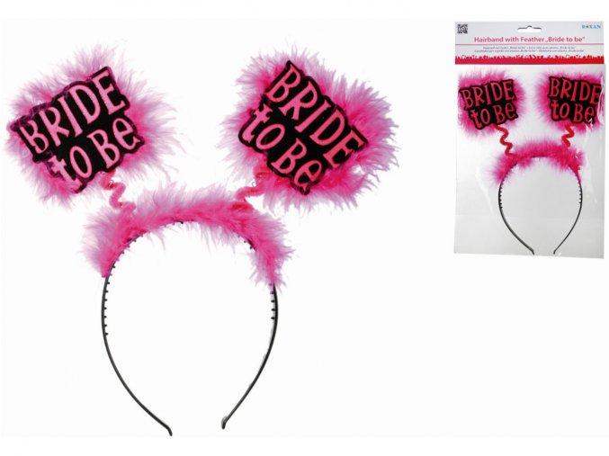 Čelenka s tykadly Bride to be růžová