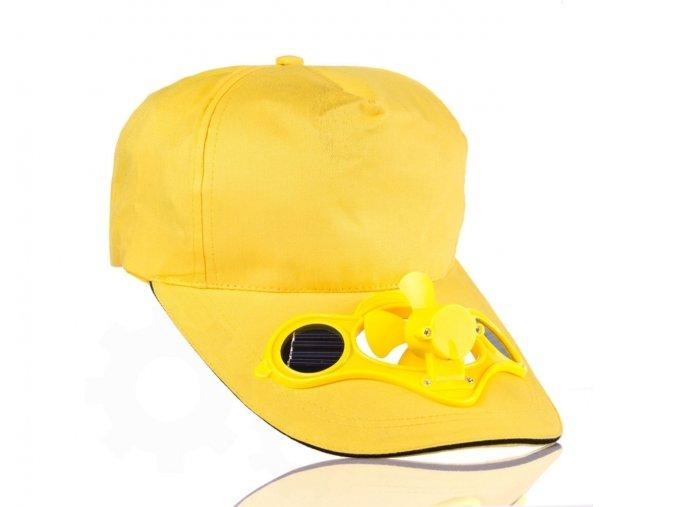 Solární čepice s větráčkem - Žlutá