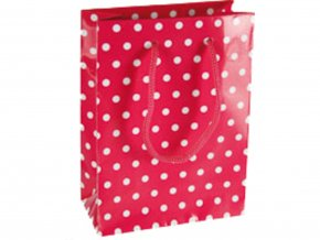 Dárková taška - Růžová s puntíky