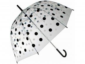 Průhledný deštník - černobílé puntíky