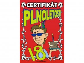 Certifikát plnoletosti (kluk)