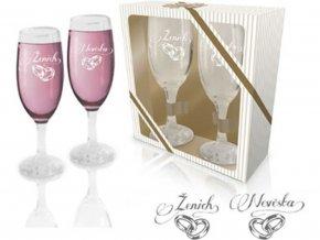 Sada sklenic na víno - Ženich a nevěsta