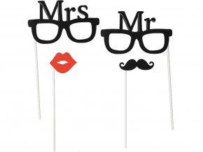 Párty foto doplňky 4 ks Mr & Mrs