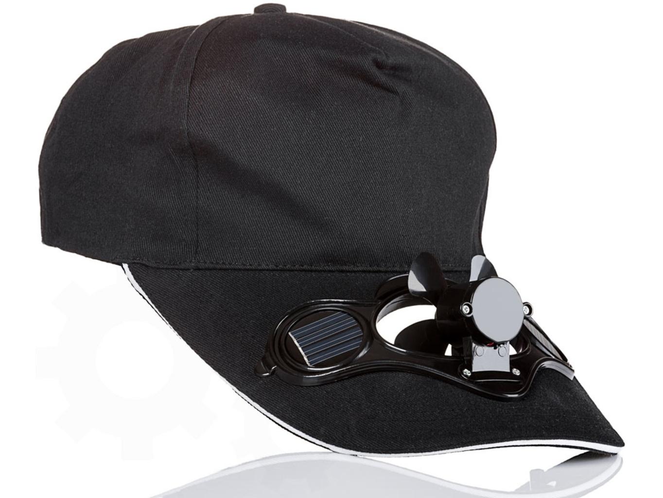 Solární čepice s větráčkem - Černá