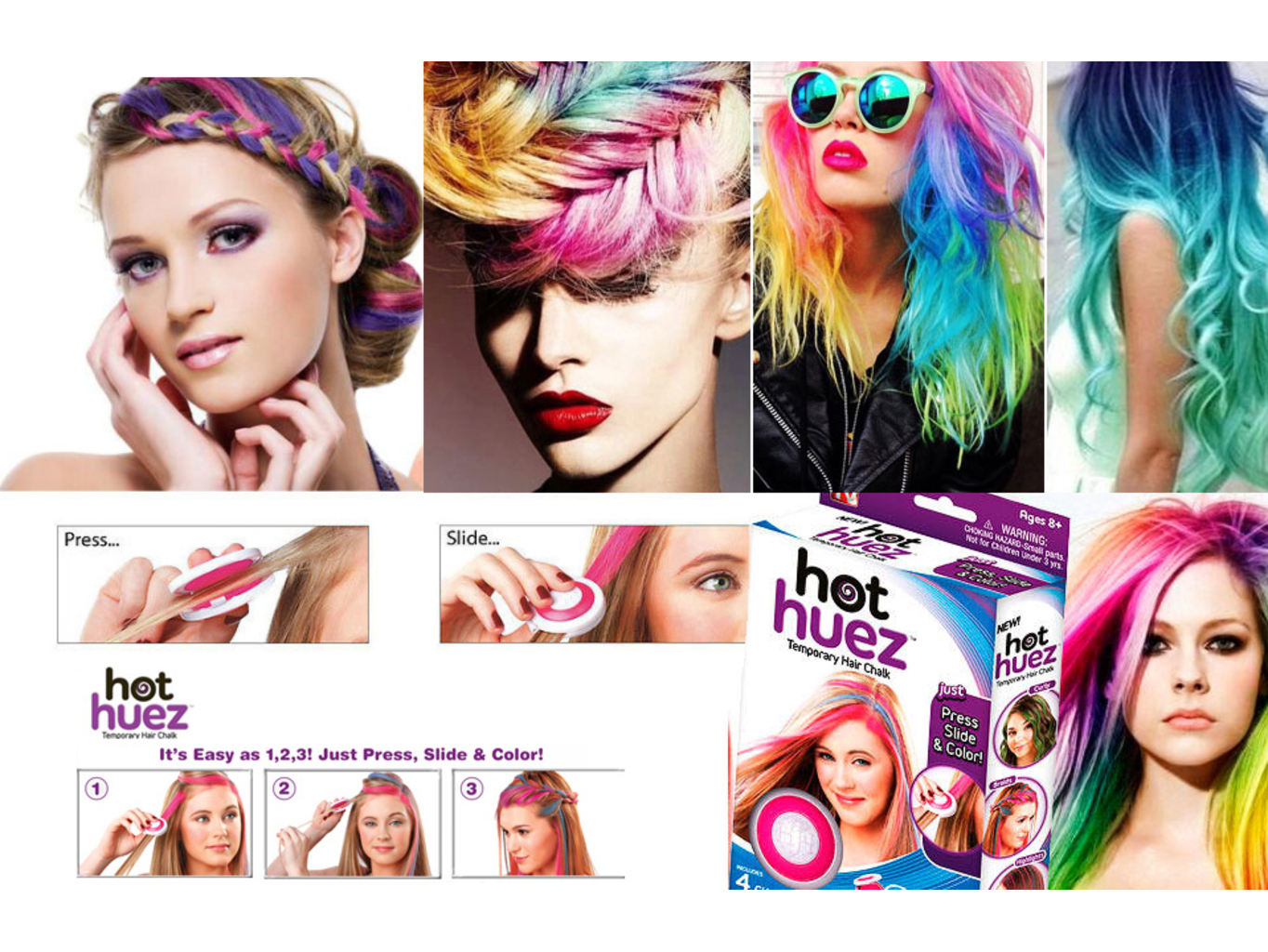 Hot Huez - barevné křídy na vlasy