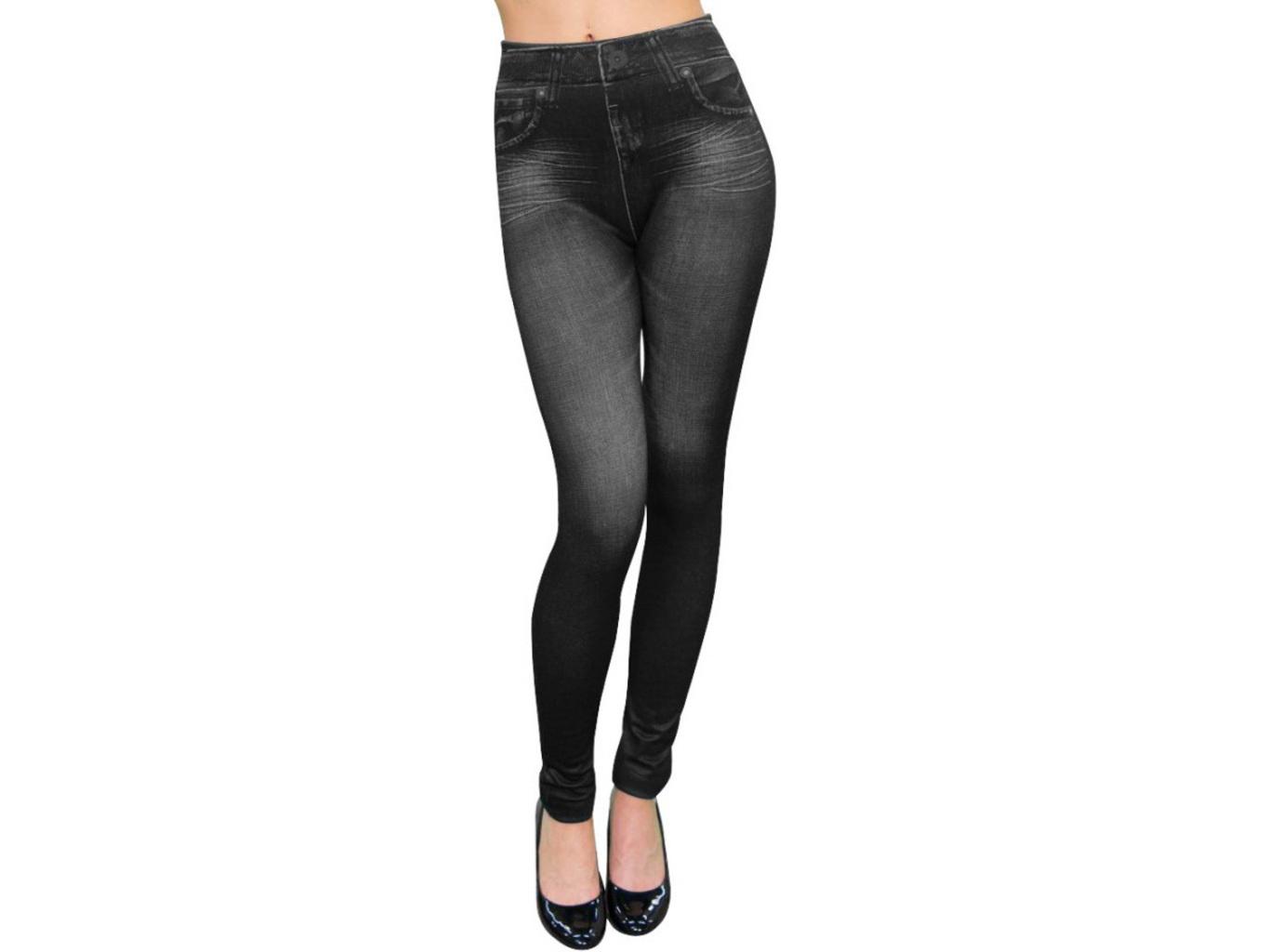 Dámské legíny jeans černé Velikost: L