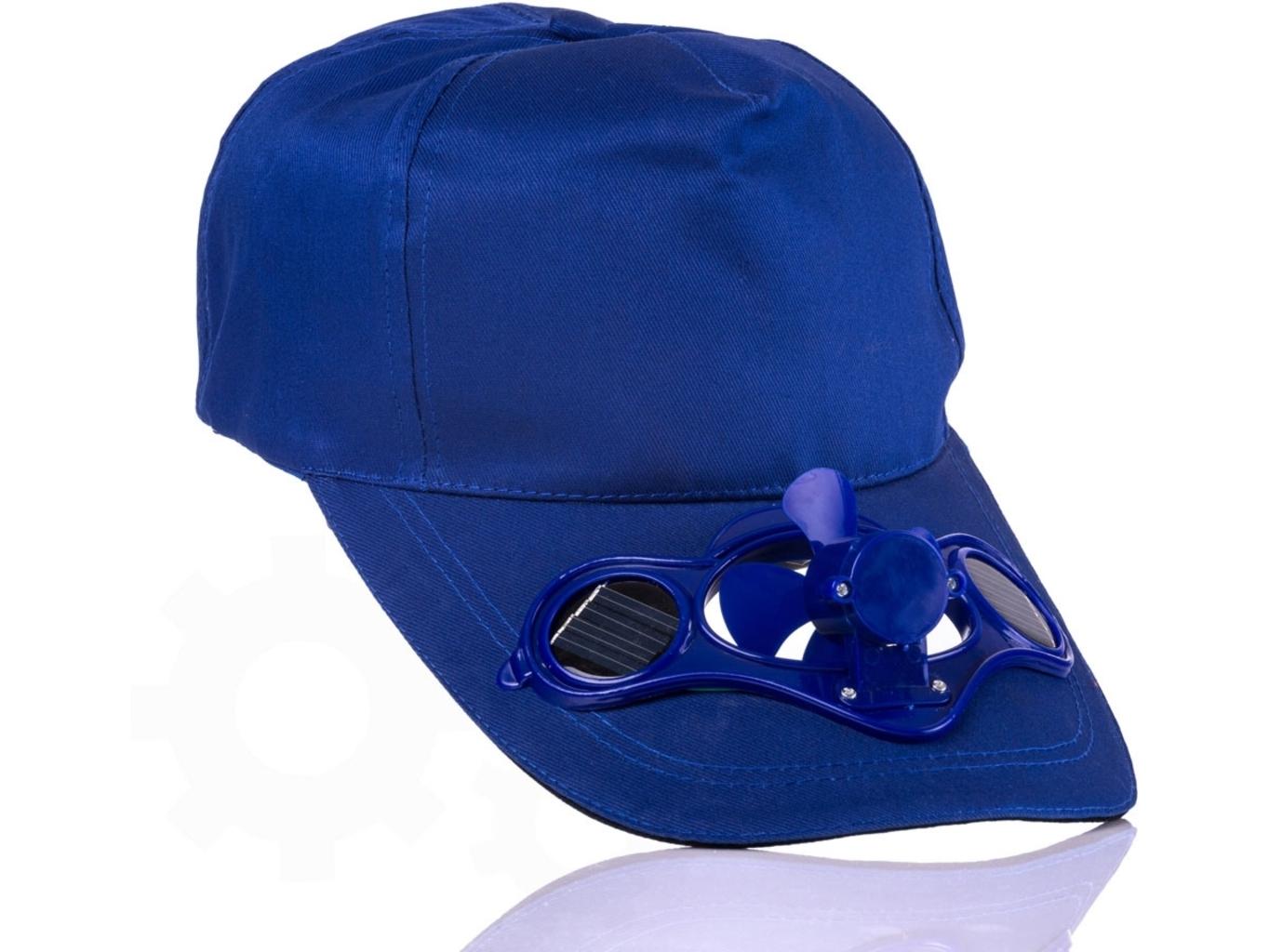 Solární čepice s větráčkem - Modrá