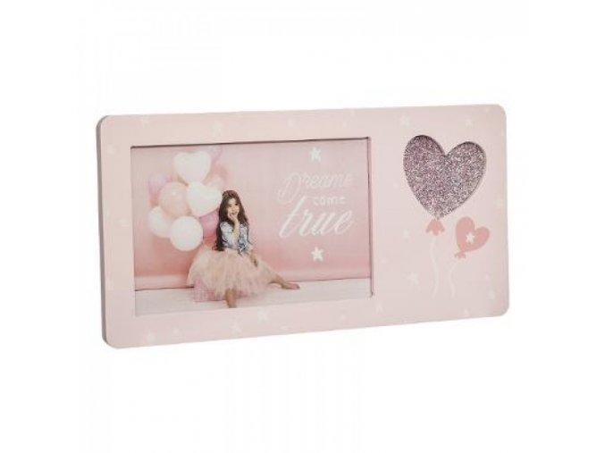 Dřevěný rámeček na fotografie růžový