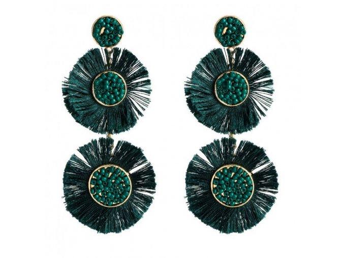Dámské náušnice zelené pompony