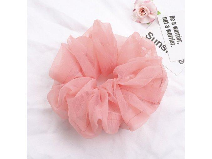 Tylová vlasová gumička růžová