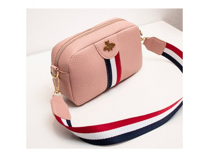 Dámská crossbody kabelka růžová s barevným popruhem