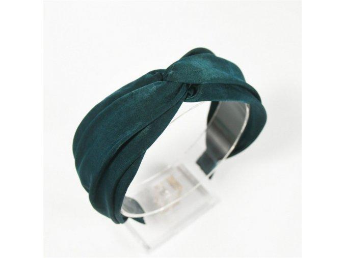Turbanová vlasová čelenka smaragdová