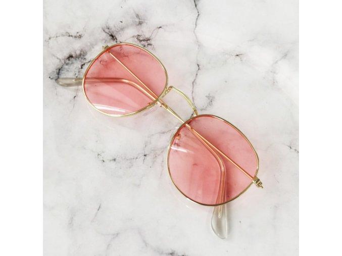Dámské sluneční brýle kulaté růžové